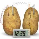 Электронные часы из картофеля